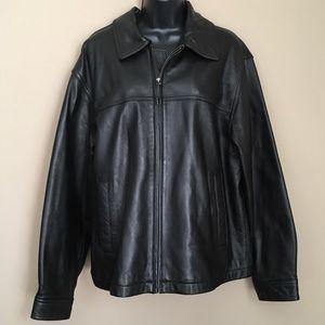 Men's Colebrook Black Leather Zipper Jacket